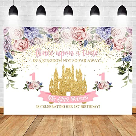 8x12 FT 1st Birthday Vinyl Photography Background Backdrops,Princess Fairy Party Theme with Best Wishes Pink Wand and Balloons Background for Selfie Birthday Party Pictures Photo Booth Shoot