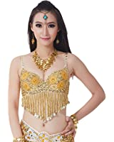 AvaCostume Belly Dance Dangling Coins Sequin Rave 34C Bra