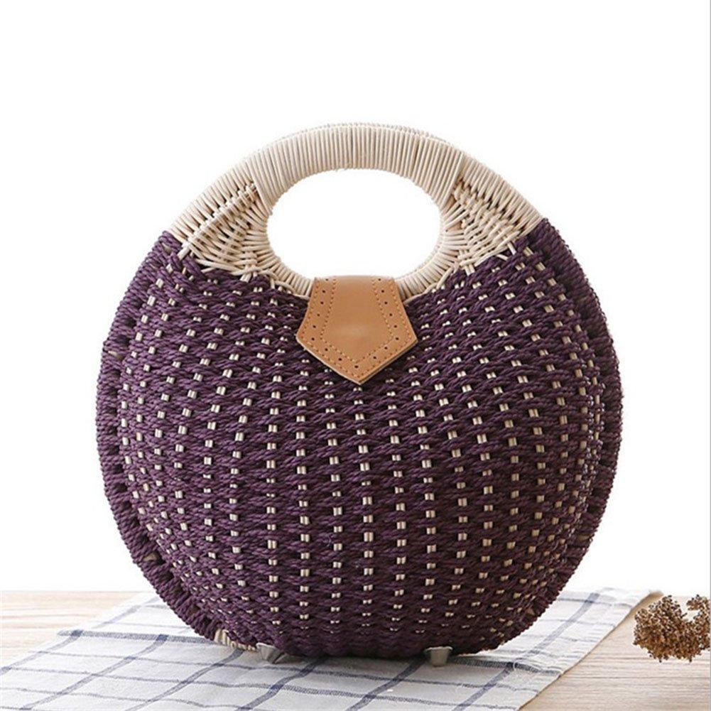 DCRYWRX Womens Summer Hand Weave Straw Top Handle Beach Bag Shell Shape Handbag Rattan,B