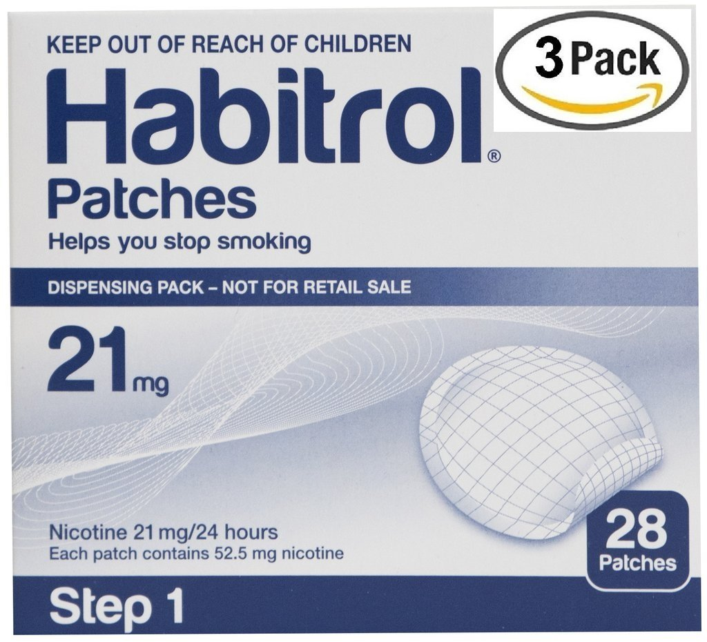 Novartis Habitrol 21mg Nicotine Patches, Step 1. Stop Smoking. 3 boxes of 28 each (84 patches)