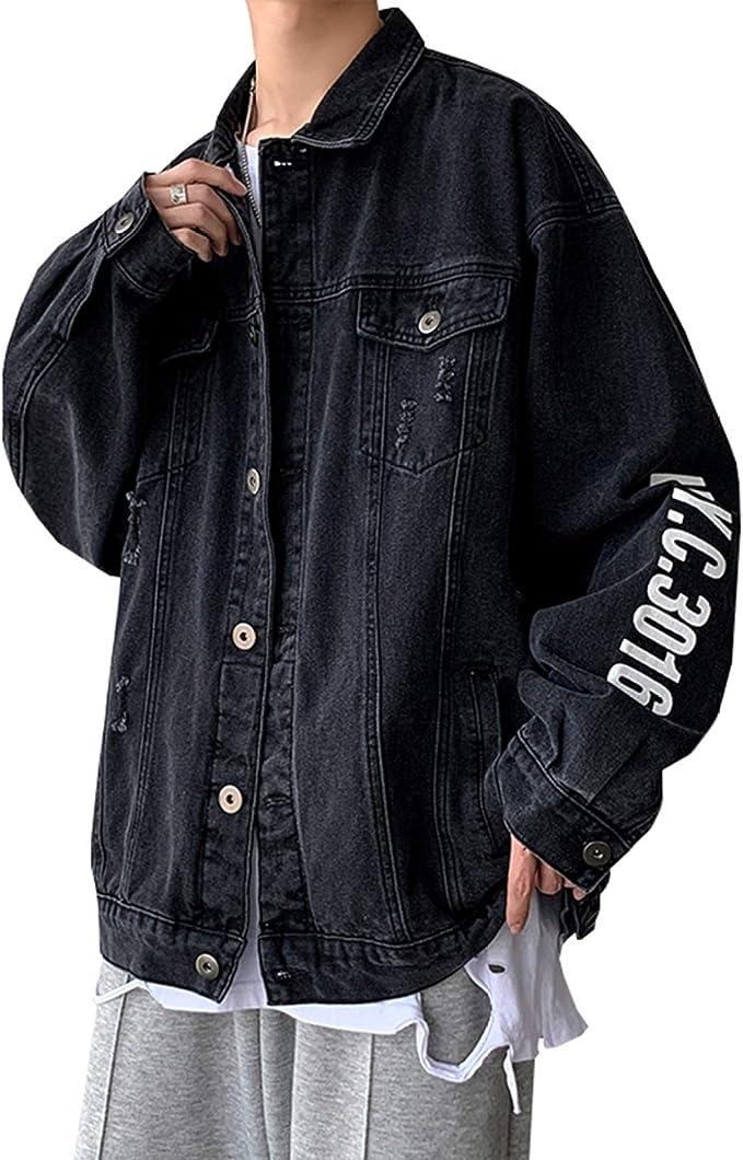 春服 デニムジャケット メンズ おしゃれ 原宿風 ダメージ加工 Gジャン 大きいサイズ ゆったり ストレッチ 合わせやすい カジュアル 通勤 通学 お出かけ 防風 防寒 ブラック/ブルー M-5XL