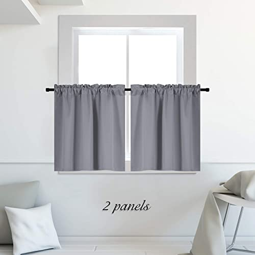 DONREN Medium Grey Small Curtains for Bathroom -Blackout Thermal Insulating Curtain Tiers for Bedroom with Rod Pocket 42 by 36 Inches,2 Panels