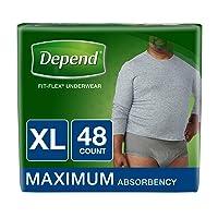 Depend FIT-FLEX Incontinence Underwear for Men, Maximum Absorbency, Disposable,...
