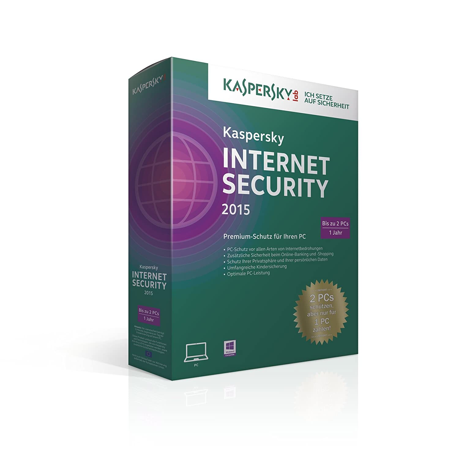 Kaspersky Lab Internet Security 2015, Limited Edition - Seguridad y antivirus (Limited Edition, Caja, Completo, 2 usuario(s), 480 MB, 512 MB, ...