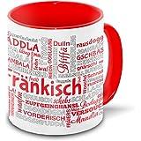 Franken-Tasse Tagcloud – weiß / rot - Tasse mit typischen Wörtern im fränkischen Dialekt