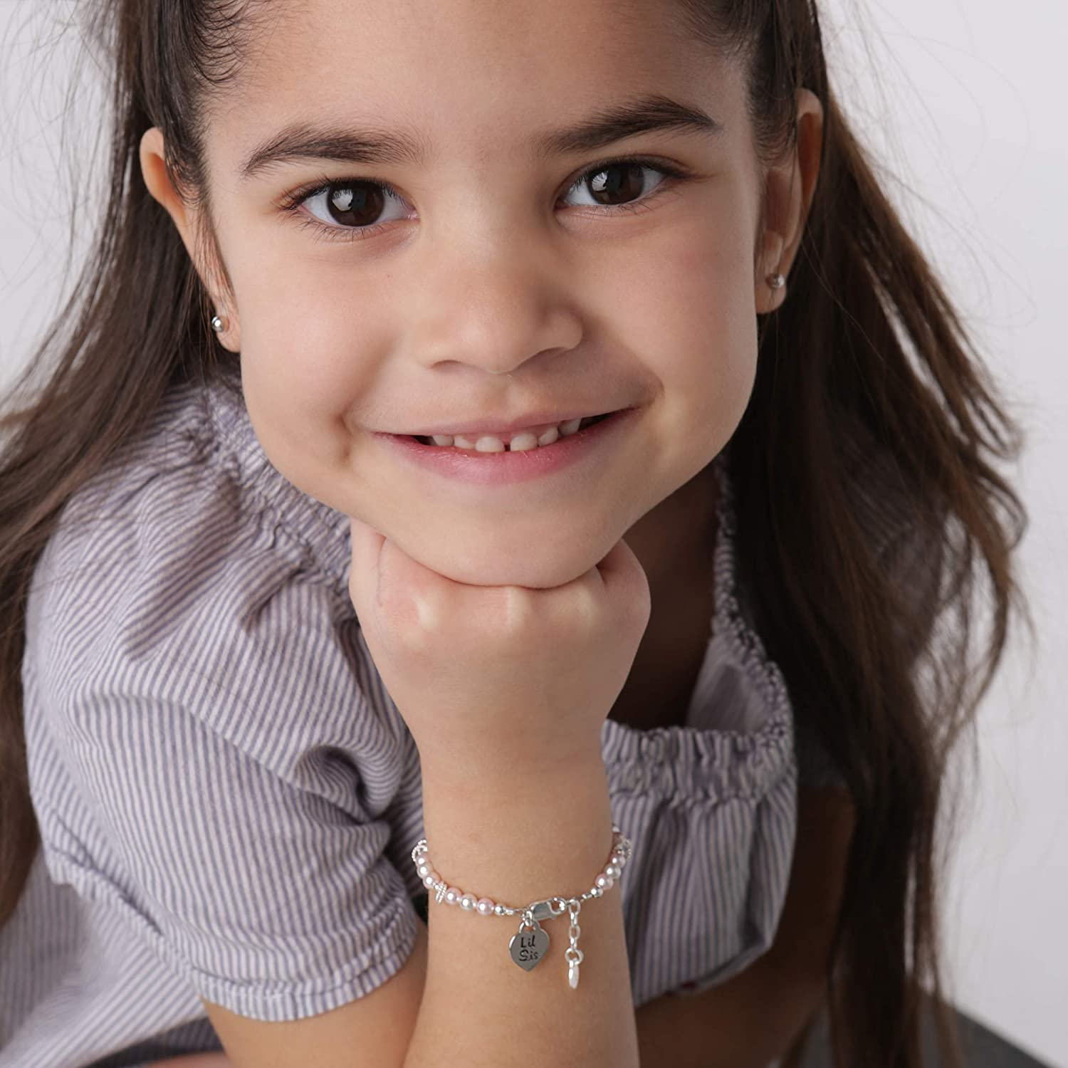 Childrens Sterling Silver Lil Sis Bracelet with Swarovski Pink Pearls for Little Sisters