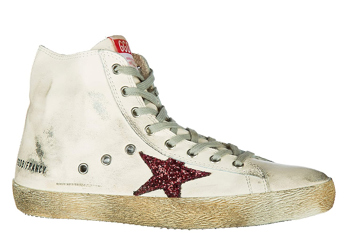 Golden Goose men's shoes high top leather trainers sneakers francy white:  Amazon.ca: Shoes & Handbags