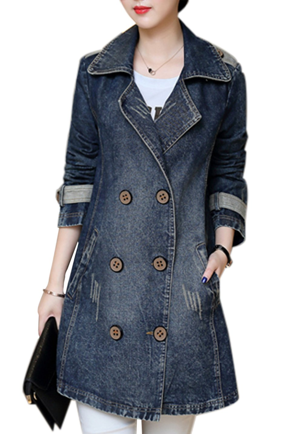 Gihuo Women's Casual Lapel Mid-Long Loose Denim Jacket Double Breasted Trench Coat (X-Large, Dark Blue)