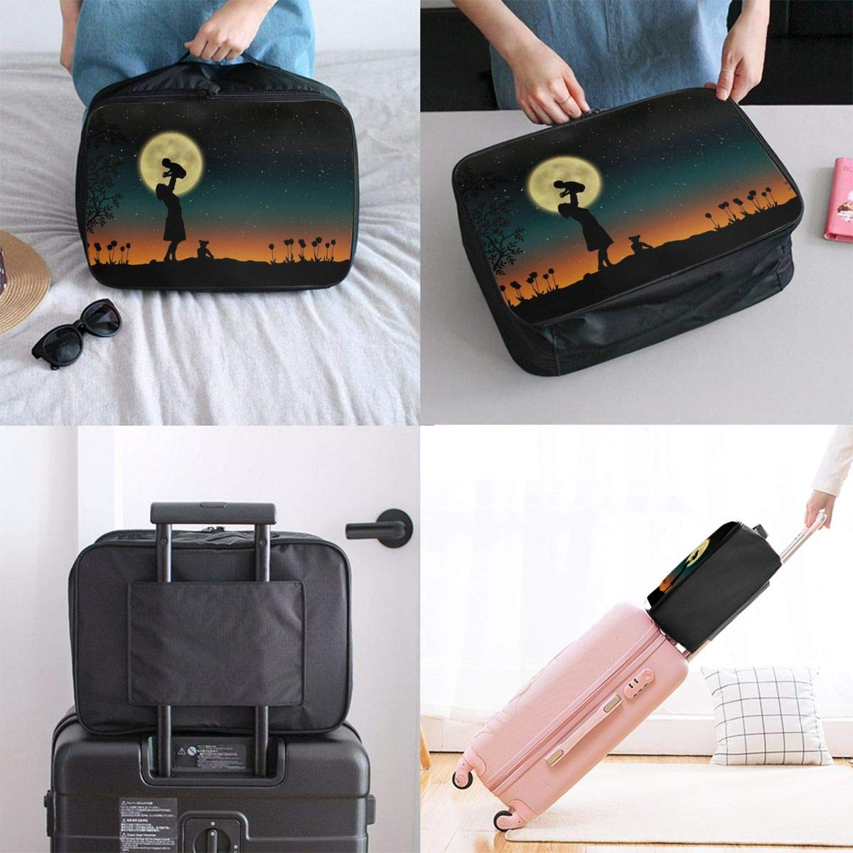 Moon Flower Mother And Son Night Travel Lightweight Waterproof Foldable Storage Carry Luggage Large Capacity Portable Luggage Bag Duffel Bag