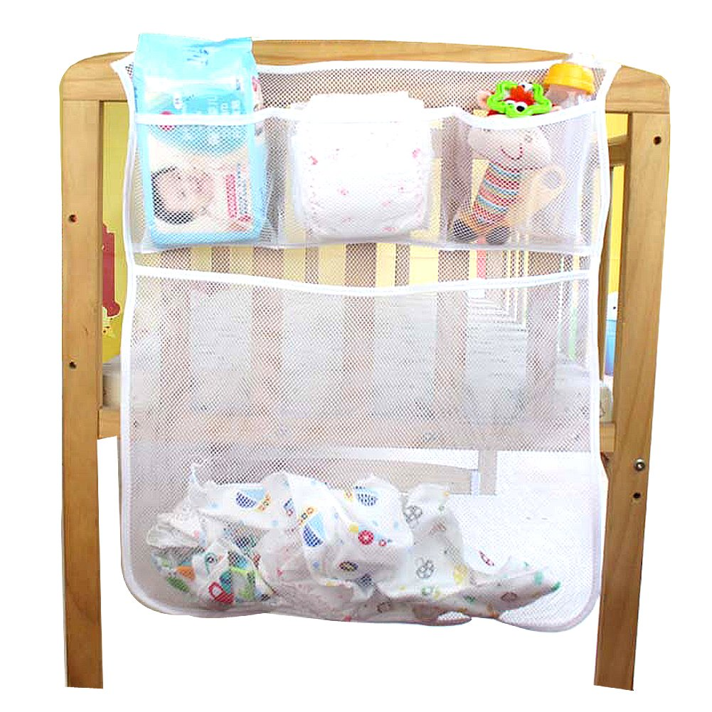 Crib Nursery Organizer V-Fyee Universal Hanging Diapers Toys Clothes Organization Storage for Crib Baby Bed and Playards Mesh Storage Bag Baby Diaper Hanging Bag