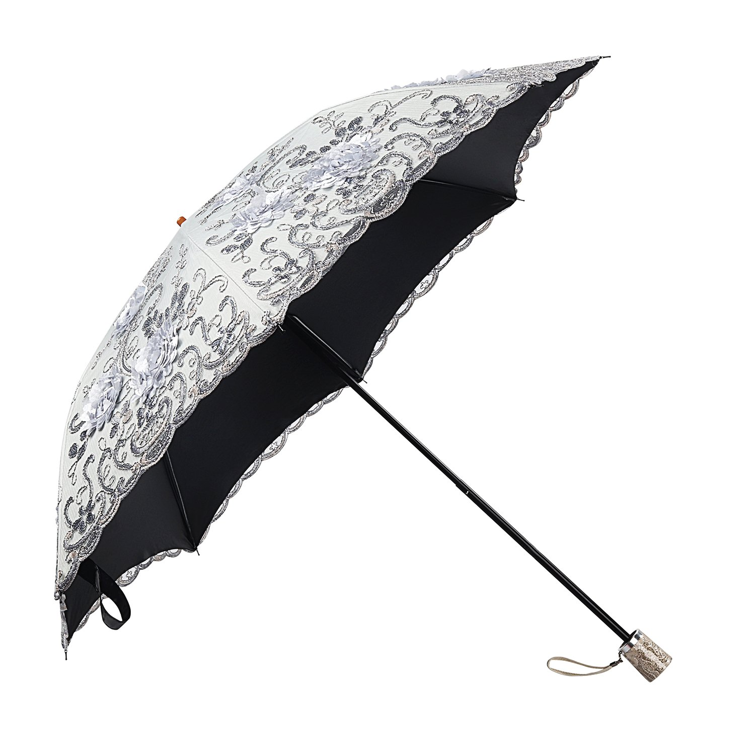 Molshine Retro Portable Parasol,Hand-Embroidered Foldable Umbrella,UV Protection