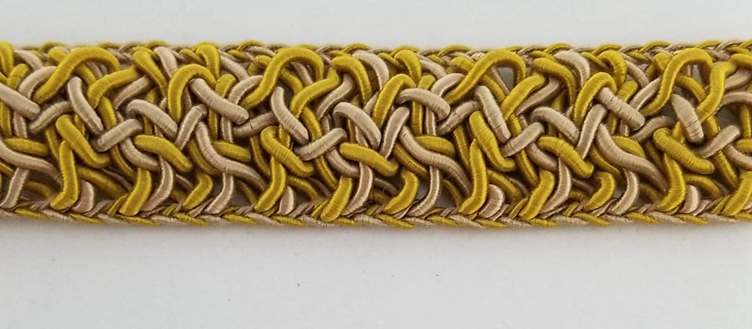 3/4' Braid Gimp Trimming - 10 Continuous Yards - Many Colors Available! (Ecru/White) BBTRIMANDRIBBON