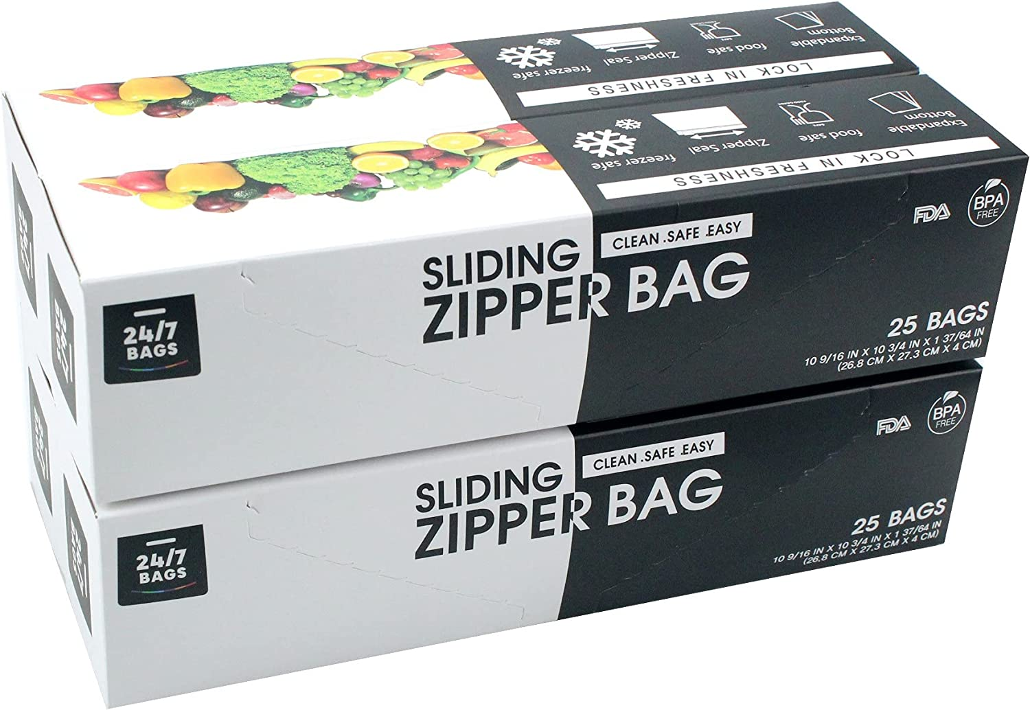 24/7 Bags – Slider Storage Bags, Gallon Size with Expandable Bottom, 100 Count (4 Packs of 25)