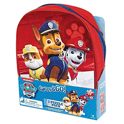 Amazon.com: Nick Jr Paw Patrol 3 Puzzle Set in Carry and Go Shaped ...