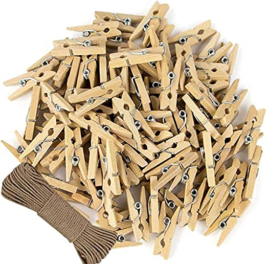 Mini Clothes Pins ~ Craft Doll House Miniatures 50 Pieces ~ Lot of 2 Clothespins