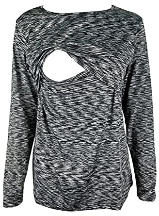 15d9344715d Chulianyouhuo Breastfeeding Shirt Striped Patchwork Long Sleeve Maternity  Breastfeeding and Nursing Tops (S, Black