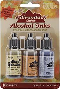 Ranger Adirondack Lights Alcohol Ink .5 Ounce 3/Pkg-Wildflowers-Lemonade/Peach Bellini/Peri