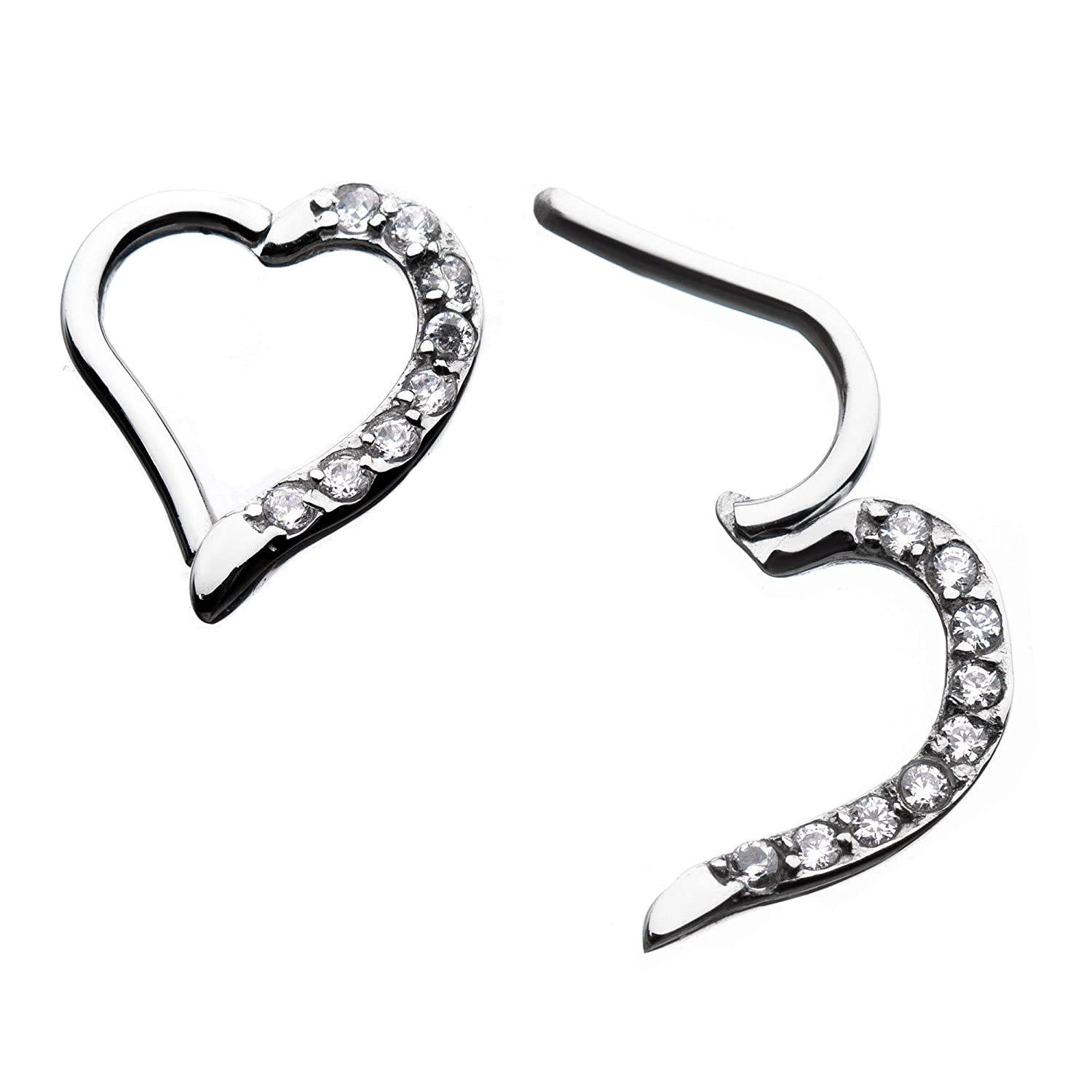 GranTodo 316 Surgical Steel 16g Right Heart Shape Hinged Segment Rings with Clear CZ Gem