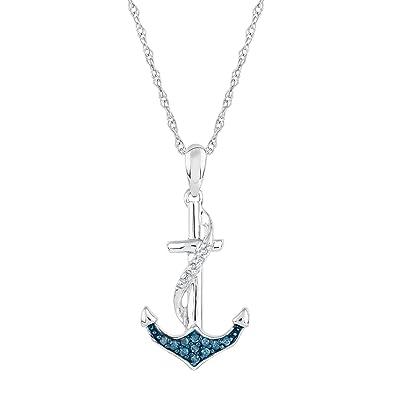 Amazon diamond and blue diamond anchor pendant 115ctw jewelry diamond and blue diamond anchor pendant 115ctw aloadofball Gallery
