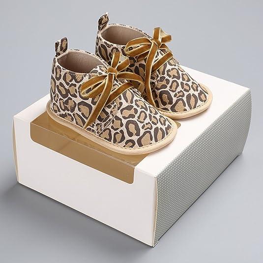 GEMVIE Zapatos Patucos De Bebé Unisex Primeros Pasos Antideslizante Suela Suave Rosa Leopardo Longuitud de pie 13cm Lj70bhv