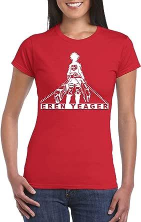 Red Female Gildan Short Sleeve T-Shirt - Eren Yeager/Name design