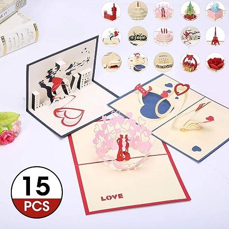 Carte De Noel 3d A Imprimer.Artistore 15pcs Cartes De Voeux Carte D Anniversaire 3d Pop Up Cartes Postales Multi Modèle Cartes De Noël Cartes D Anniversaire Décorées Pour Une