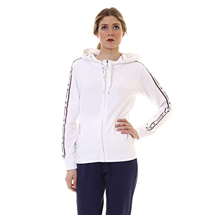 Champion Sweat à Capuche zippé, Blanc, M: : Sports