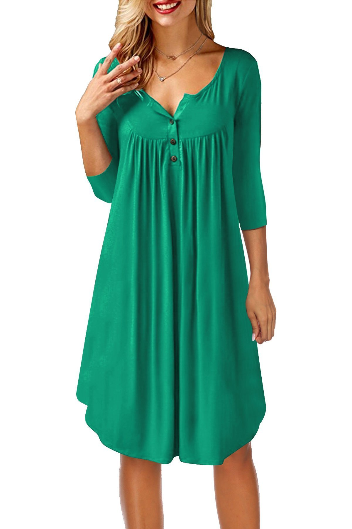 Women's Long Sleeves A-Line Dress Swing Shirts Blouse with Button Green Small