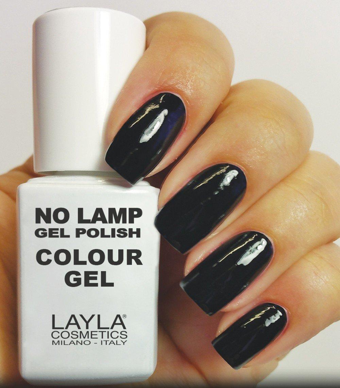Layla Cosmetics Milano No Nail Lamp Gel Polish Carbon Black: Amazon ...