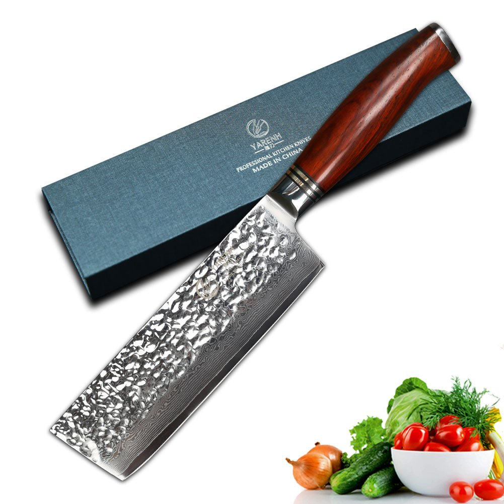 YARENH Damascus Nakiri Usuba Knives 6.5 intch with galbergia Wooden Handle Professional Kitchen Knives for Cut Meat Vegetable Yangjiangshi Yarenh Co. Ltd.