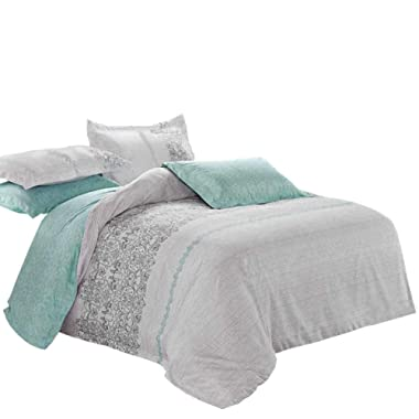 Wake In Cloud - Gray Teal Comforter Set, Reversible with Grey and Turquoise Pattern Printed, Soft Microfiber Bedding (3pcs, Queen Size)