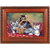 Having A Picnic Cats Woodgrain Cottage Garden Traditional Music Box Plays You are my Sunshine