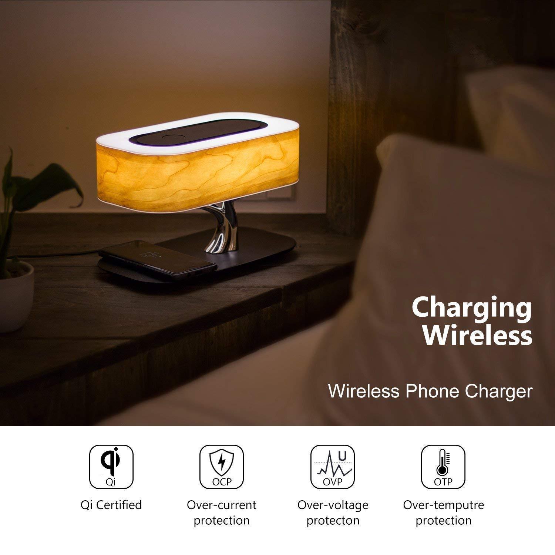 Lampada da Tavolo di Ricarica Wireless con Smart Touch Tree Light Qi Wireless Caricatore Supporto,Speaker Senza Fili Altoparlante Bluetooth,Lampada da Scrivania LED Classe Energetica A +