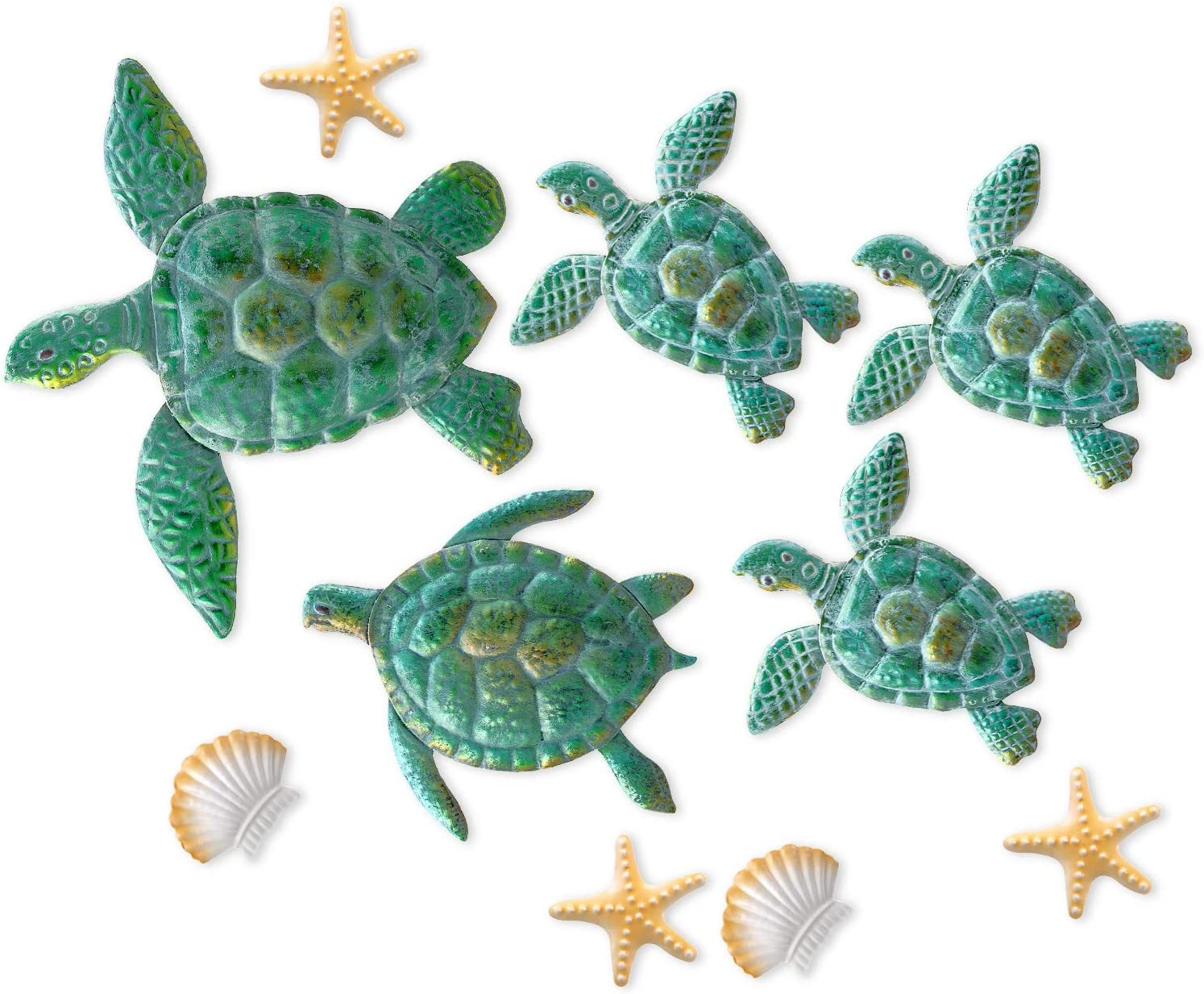 10 Pieces Sea Turtle Wall Decoration Starfish Ornaments Shell Wall Ornaments for Indoor Outdoor Garden Wall Sculptures