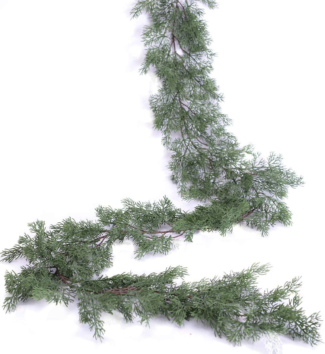 PARTY JOY Seasonal Artificial Christmas Garland Pine Cypress Greenery Garland Holiday Outdoor Winter Decor-5.9ft