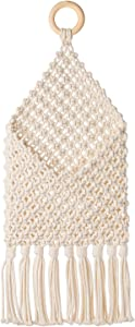 """Macrame Wall Hanging Pouch, Creative Mail Holder for Entry Way, Boho Wall Pocket for Storage, Boho Home Decor, 7.5"""" W × 17.5"""" L"""
