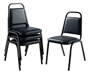 National Public Seating (4 Pack) Vinyl Upholstered Banquet Stack Chair, Midnight Blue