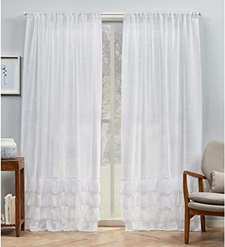 Exclusive Home Curtains Jacinta Bottom Ruffle Light Filtering Rod Pocket Curtain Panel Pair