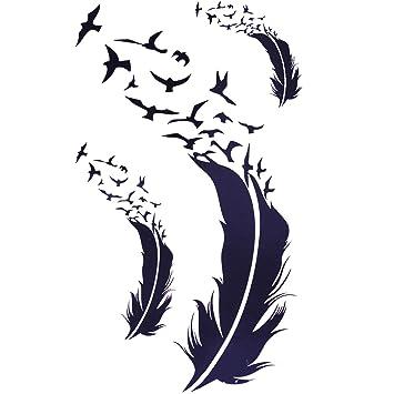 Cokohappy Temporaire Tatouage Ensemble 2 Plume Oiseau Amazon Fr