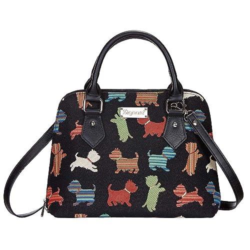 Signare Tapestry Women Top Handle Handbag Shoulder Bag Cross Body Bag Black  Colourful Puppies of Westie f0cf505573c7b
