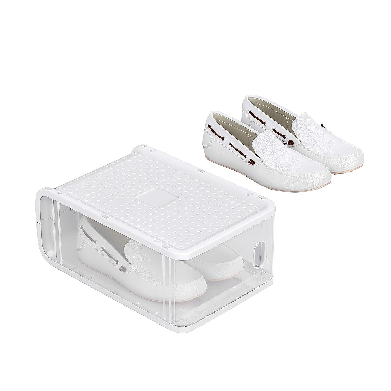 Tama/ños hasta 42 Organizador de Almacenamiento de Zapatos Apilable con Puerta Frontal Paquete de 8 Transparente LSP08TP SONGMICS Cajas de Pl/ástico para Zapatos 21,5 x 32,5 x 13,5 cm