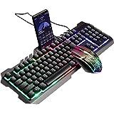 Salandens Kit Teclado Y Mouse Alambrico Gamer, Juego De Teclado y Mouse Combo Wired Arco Iris LED Retroiluminado USB Teclado