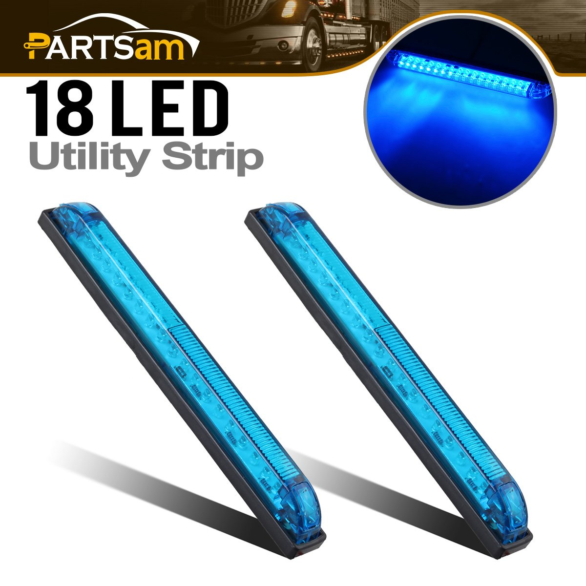 Partsam 2pcs Blue - 18LED 8' Utility Strip Light Bar Auto Marker Light 12V Low Current Draw