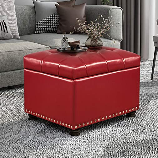 Joveco Storage Ottoman Stylish Rectangular Leather PU Bench Footrest Red