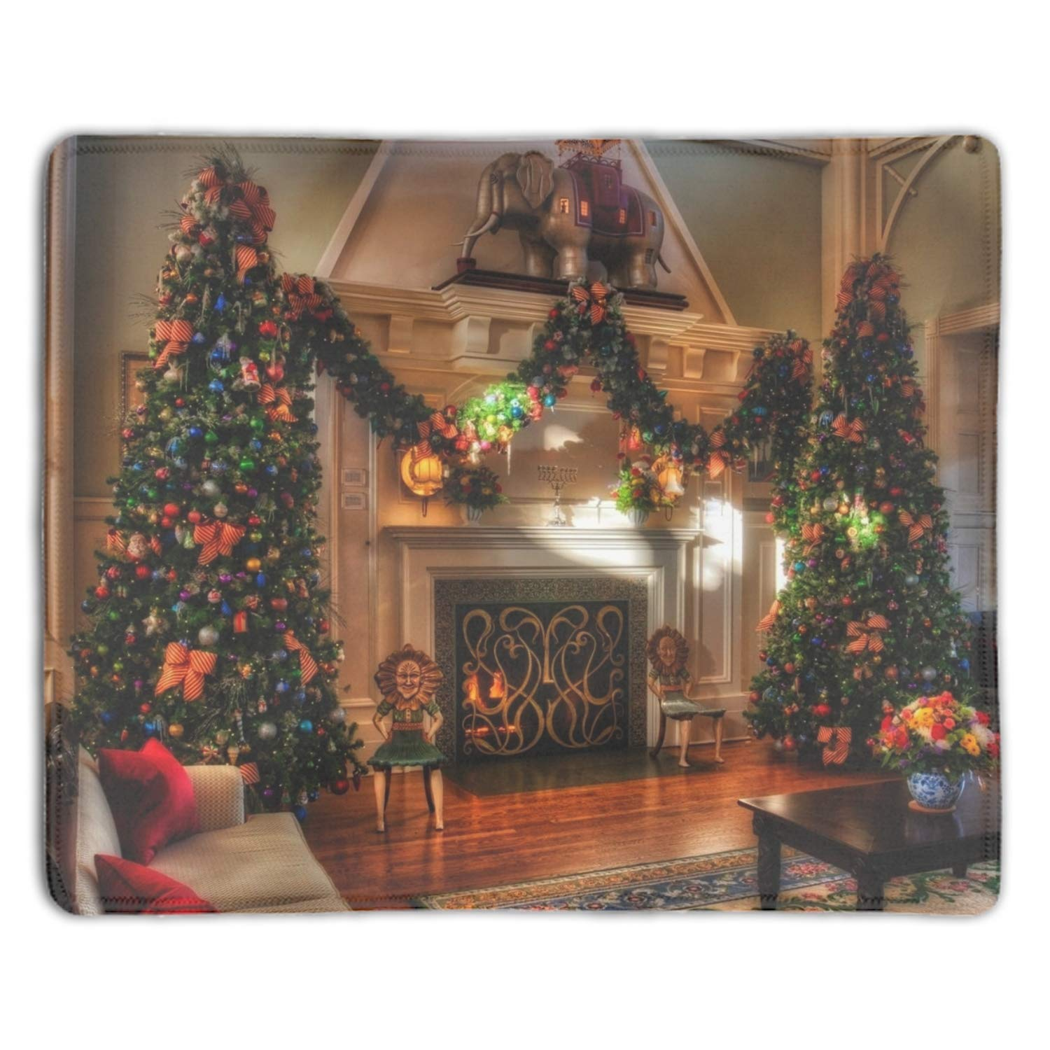 Amazon Christmas Trees Fireplace Non Slip Mouse Pad for fice