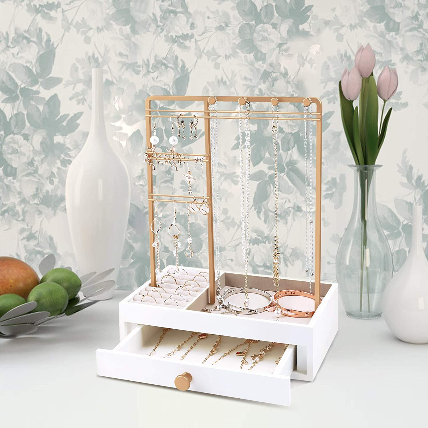 Teamkio Jewelry Stand Tree with Large White Storage Box Watches Tabletop Jewelry Organizer Display Tree for Necklace Bracelets Rings