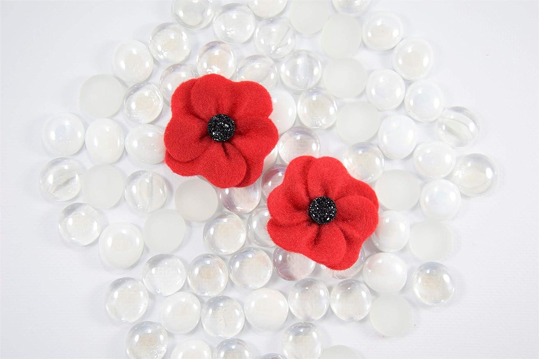 Red felt poppy lapel pin brooch