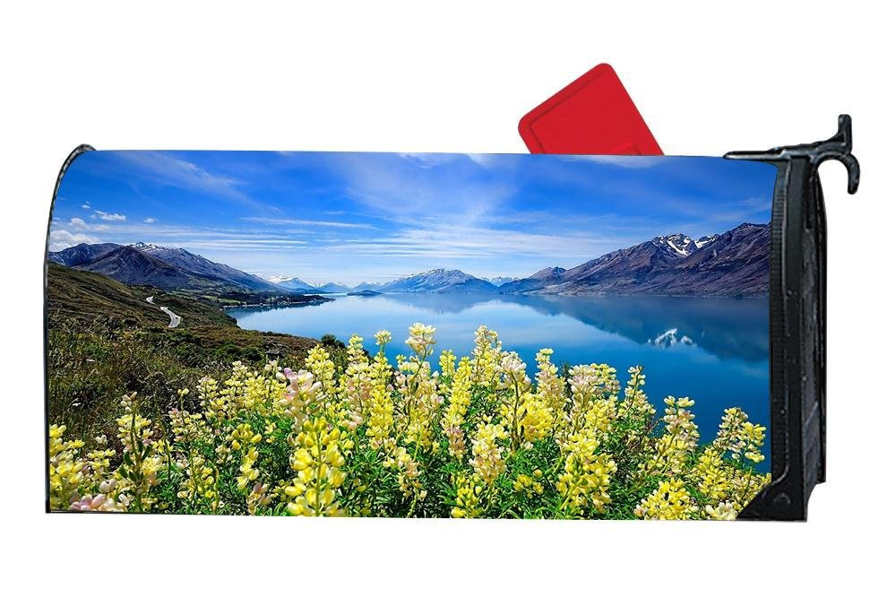 DIYMBCovers Seasonal Mailbox Cover Magnetic for Metal/Steel Mailboxes Mail Wrap Standard Vinyl - Nature Spring Mountains Flowers