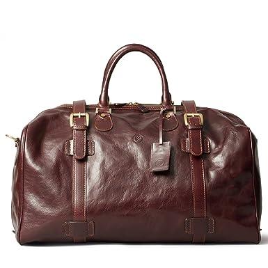 f610bc53d61e Maxwell Scott Luxury Brown Men Leather Travel Bag (The FleroL) - Large