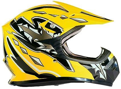 Kids Youth Offroad Helmet DOT Motocross ATV Dirt Bike MX Motorcycle Yellow,  X-Large